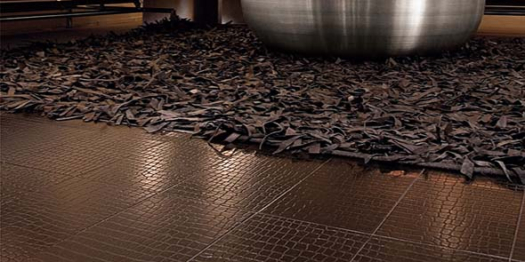 leather wall tiles and surfaces by oiba leather flooring